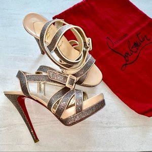 CHRISTIAN LOUBOUTIN Glitter Strappy Platform Heels